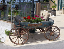 Old-fashioned cart. Typical old-fashioned greek cart painted and decorated in traditional style Stock Photos