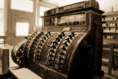 Old Fashioned Cash Register Still Doing Business Stock Image