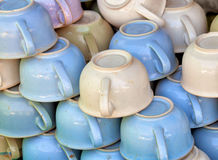Old-fashioned ceramic chamber pots on the market Royalty Free Stock Photos