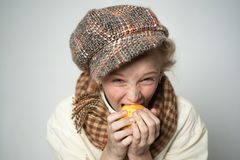 Old fashioned child in beret. retro fashion model. Vintage. street kid with dirty face. vintage english style. teen girl. In retro male suit. Hungry and homelss stock photography