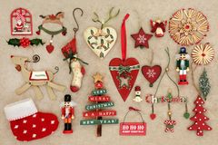 Old Fashioned Christmas Decorations Royalty Free Stock Photos