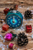 Old-fashioned clock and Christmas toy Royalty Free Stock Photos