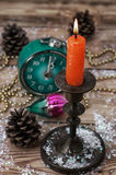 Old-fashioned clock and Christmas toy Royalty Free Stock Photo