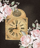 Old-fashioned clock with english roses on dark background. Watercolors Stock Image