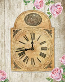 Old-fashioned clock with english roses on wooden background. Watercolors Stock Image