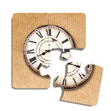 Old-fashioned clock print on puzzle pieces. 3d rendering of close-up of four puzzle pieces with print of old-fashioned shabby clock on paper background Stock Photography