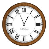Old Fashioned Clock. Retro Old Timer clock in wooden frame. Royalty Free Stock Photo