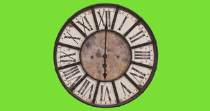 Old fashioned clock, timelapse 12H. Green screen - copy space stock footage