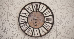 Old fashioned clock timelapse 12H. Old fashioned clock on the wall, timelapse 12H - copy space stock video footage
