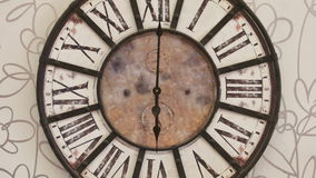 Old fashioned clock on the wall, timelapse. 12H, zoom in stock video footage