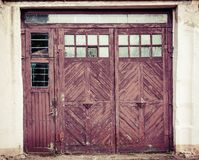 Old fashioned closed doors with glass stock photography