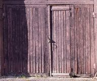 Old fashioned closed doors stock image