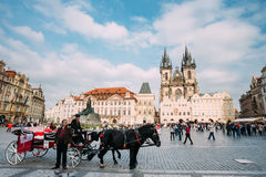 Old-fashioned Coach And Coachman At The Old Town Royalty Free Stock Photos