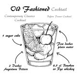 Vector illustration of alcoholic cocktail Old Fashioned sketch. Old fashioned cocktail, consisting of Bourbon, Angostura Bitter, sugar cubes, a few drops of stock illustration