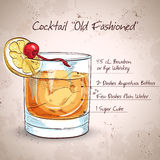 Old fashioned cocktail Stock Images