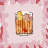 Old fashioned cocktail illustration. Alcoholic bar drink hand drawn vector. Pop art vector illustration