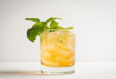 Old fashioned cocktail with lime and mint Stock Photo