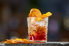 Old fashioned cocktail. Negroni. The Negroni. Old fashioned cocktail. Shallow dof stock photos