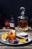 Old Fashioned Cocktail in a Vintage Style Bar Royalty Free Stock Photography