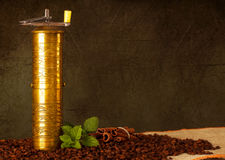 Old-fashioned coffee grinder. With cinnamon and mint Royalty Free Stock Image