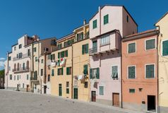 The old-fashioned colorful houses in Liguria region of Italy Royalty Free Stock Photo