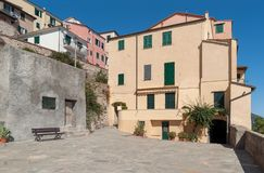 The old-fashioned colorful houses in Liguria region of Italy Stock Image