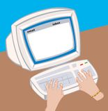 Old fashioned computer screen and keyboard. Vector illustration. All parts seperate and fully editable Royalty Free Stock Photo