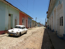 Old fashioned Cuban car in the street of Trinidad Royalty Free Stock Photos