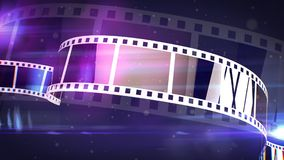 Classic Film Tape Rolls. An old-fashioned 3d rendering of vintagewhite and violet film tapes with lines of holes covering the whole image. The tape rolls remind Royalty Free Stock Photos