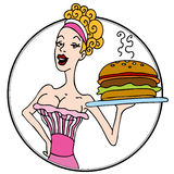 Old Fashioned Diner Waitress Serving Hamburger Royalty Free Stock Image