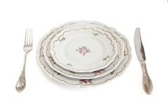 Old-fashioned dinner set isolated Royalty Free Stock Photography