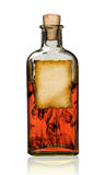 Old fashioned drug bottle with label, . Stock Photos