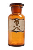 Old fashioned drug bottle with label, isolated. Royalty Free Stock Photos