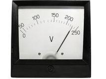 Old-fashioned electric voltmeter Stock Photo