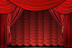 Old fashioned, elegant drapes. Old fashioned, elegant theater stage with velvet curtains Royalty Free Stock Images