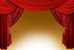 Old fashioned, elegant red theater stage drapes royalty free stock photo