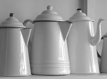 Old Fashioned Enamel Coffee Pots Royalty Free Stock Photography