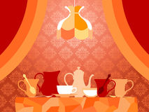 Old-Fashioned Evening Tea Party Stock Photo
