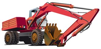 Old-fashioned excavator. Detailed ial image of red old-fashioned wheel excavator, isolated on white background. File contains gradients, not blends and strokes Stock Photo