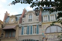 Old fashioned French facade at Epcot Disney royalty free stock images