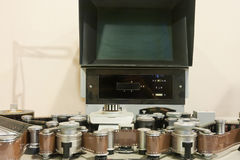 Old-fashioned film editing machine. (a video recorder for television program production royalty free stock photos