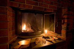 Old Fashioned Fireplace Stock Photography