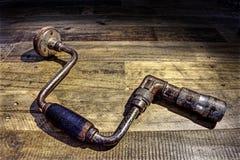 Old-fashioned, foret de menuiserie de vintage sur un fond rustique et en bois Photo stock