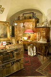 Old fashioned furnitures. A lot of old fashioned antiquarian furnitures with armchair, old mirror, lamp, carpet, vase, case and books inside royalty free stock photos