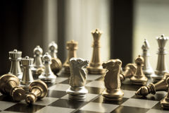 Old fashioned game of chess with strategic gunslinger battle of. Fight for the victory.  Fight and beat and punish the competition until you find the path to Royalty Free Stock Photo