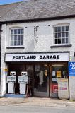 Old fashioned garage, Weobley. Stock Photo
