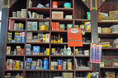 Old-fashioned general store. Shelves with goods in old-fashioned General store , from the 1950ies in Germany Royalty Free Stock Photos