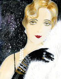 Old-fashioned girl with white fur Royalty Free Stock Images