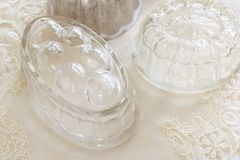 Vintage Jelly Moulds. Old fashioned glass and aluminum jelly or blancmange moulds for making traditional jellies stock photos