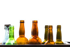 Old fashioned glass bottles Royalty Free Stock Image